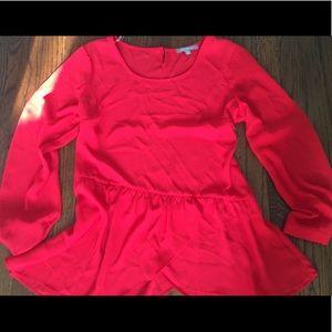Red long sleeve, tulip hem blouse